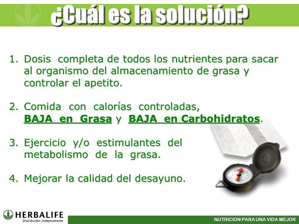 NUTRICION PARA UNA VIDA MEJOR ¿Cuál es la solución? 1.Dosis completa de todos los nutrientes para sacar al organismo del almacenamiento de grasa y con
