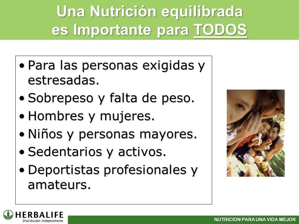 NUTRICION PARA UNA VIDA MEJOR Para las personas exigidas y estresadas.Para las personas exigidas y estresadas. Sobrepeso y falta de peso.Sobrepeso y f