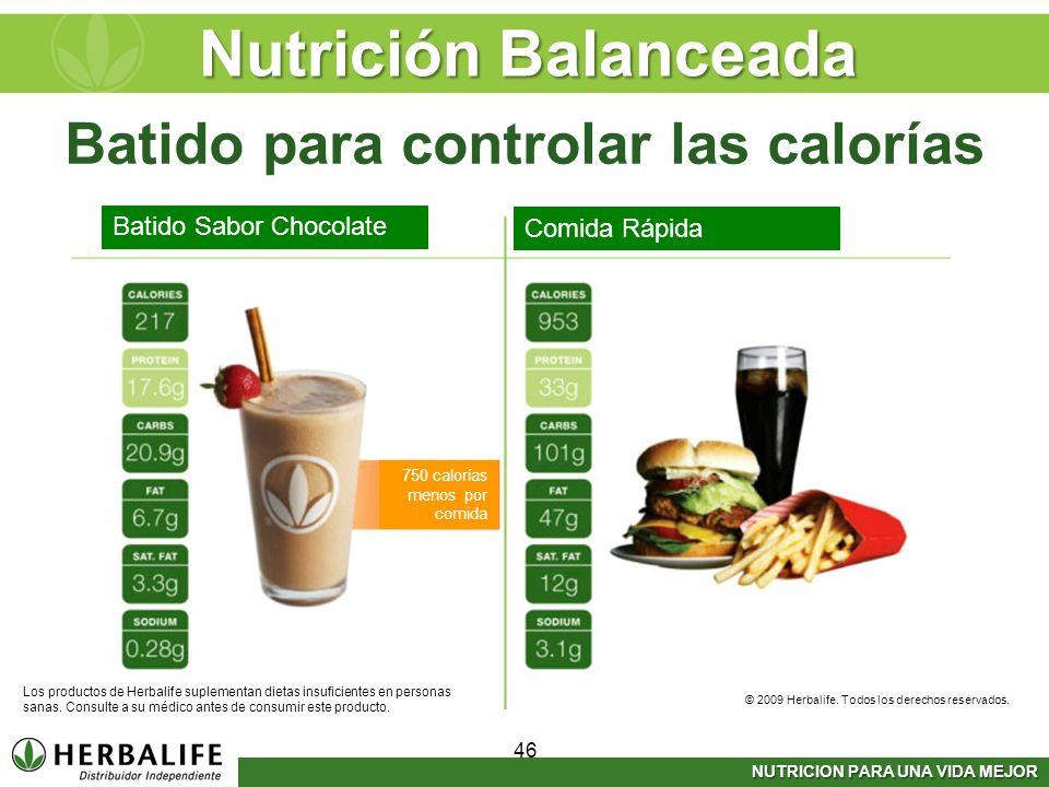 NUTRICION PARA UNA VIDA MEJOR Nutrición Balanceada Batido para controlar las calorías © 2009 Herbalife. Todos los derechos reservados. 46 Batido Sabor