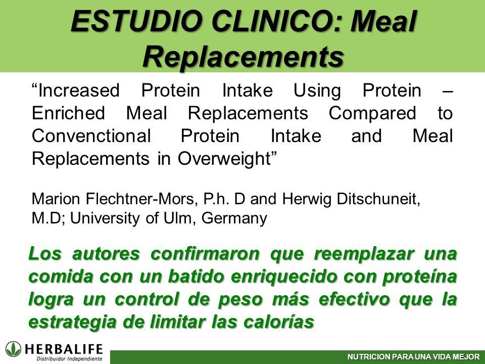 NUTRICION PARA UNA VIDA MEJOR ESTUDIO CLINICO: Meal Replacements Increased Protein Intake Using Protein – Enriched Meal Replacements Compared to Conve