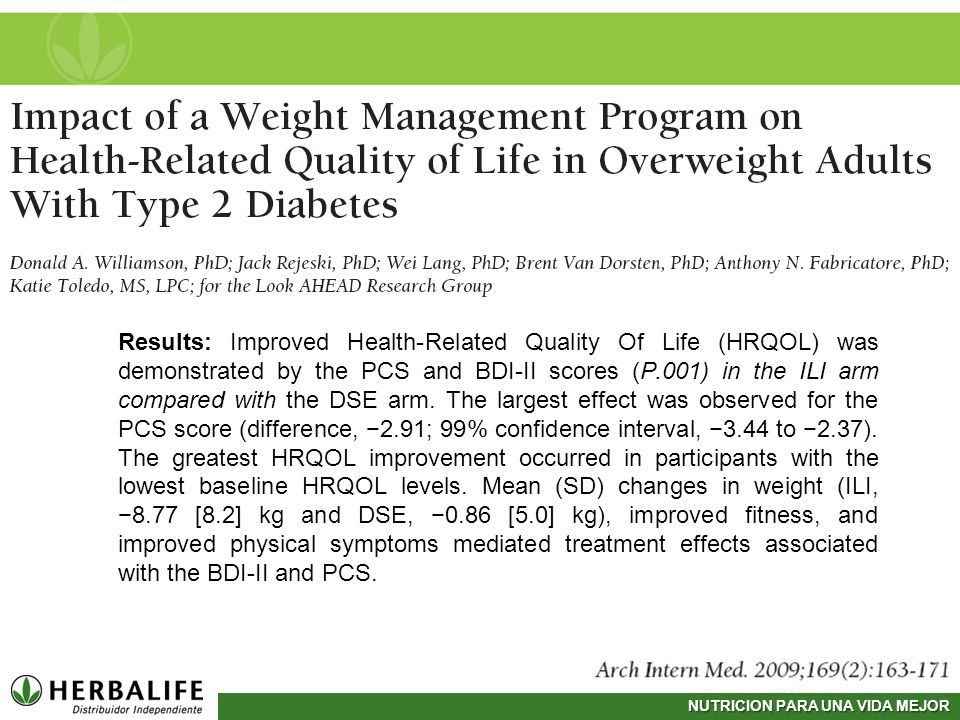 NUTRICION PARA UNA VIDA MEJOR Results: Improved Health-Related Quality Of Life (HRQOL) was demonstrated by the PCS and BDI-II scores (P.001) in the IL