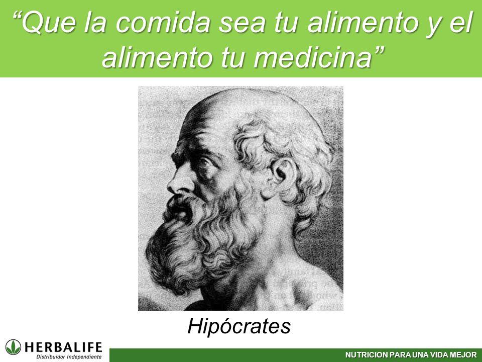 NUTRICION PARA UNA VIDA MEJOR Hipócrates Que la comida sea tu alimento y el alimento tu medicina