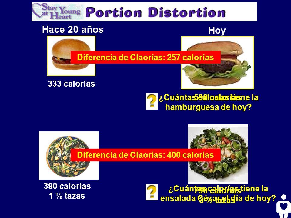 Hace 20 años Hoy 333 calorías ¿Cuántas calorías tiene la hamburguesa de hoy? 390 calorías 1 ½ tazas ¿Cuántas calorías tiene la ensalada César el día d