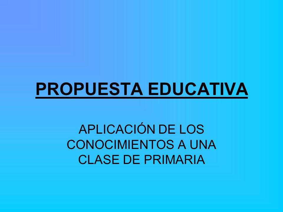 PROPUESTA EDUCATIVA APLICACIÓN DE LOS CONOCIMIENTOS A UNA CLASE DE PRIMARIA
