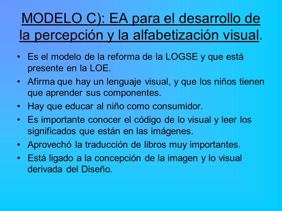 MODELO C): EA para el desarrollo de la percepción y la alfabetización visual. Es el modelo de la reforma de la LOGSE y que está presente en la LOE. Af