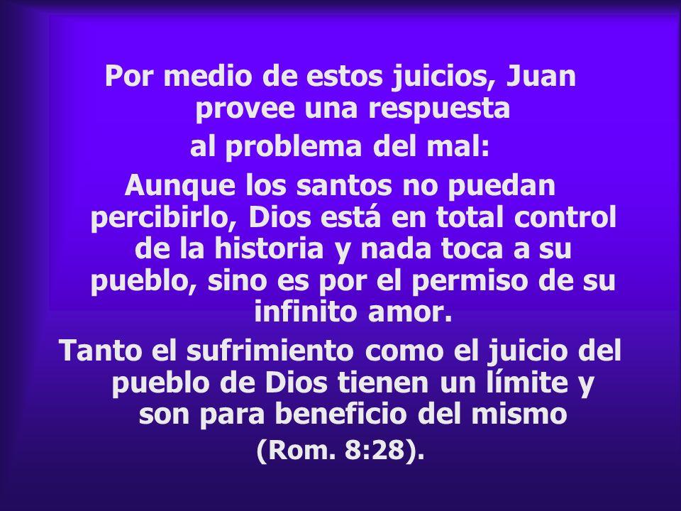Por medio de estos juicios, Juan provee una respuesta al problema del mal: Aunque los santos no puedan percibirlo, Dios está en total control de la hi