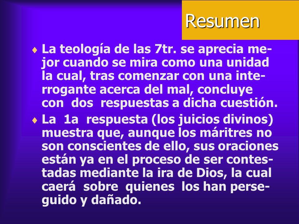 Resumen La teología de las 7tr. se aprecia me- jor cuando se mira como una unidad la cual, tras comenzar con una inte- rrogante acerca del mal, conclu