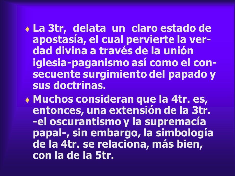 La 3tr, delata un claro estado de apostasía, el cual pervierte la ver- dad divina a través de la unión iglesia - paganismo así como el con- secuente s