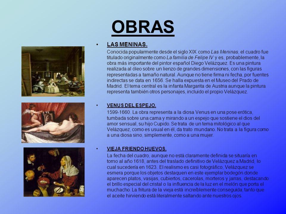 OBRAS LAS MENINAS. Conocida popularmente desde el siglo XIX como Las Meninas, el cuadro fue titulado originalmente como La familia de Felipe IV y es,