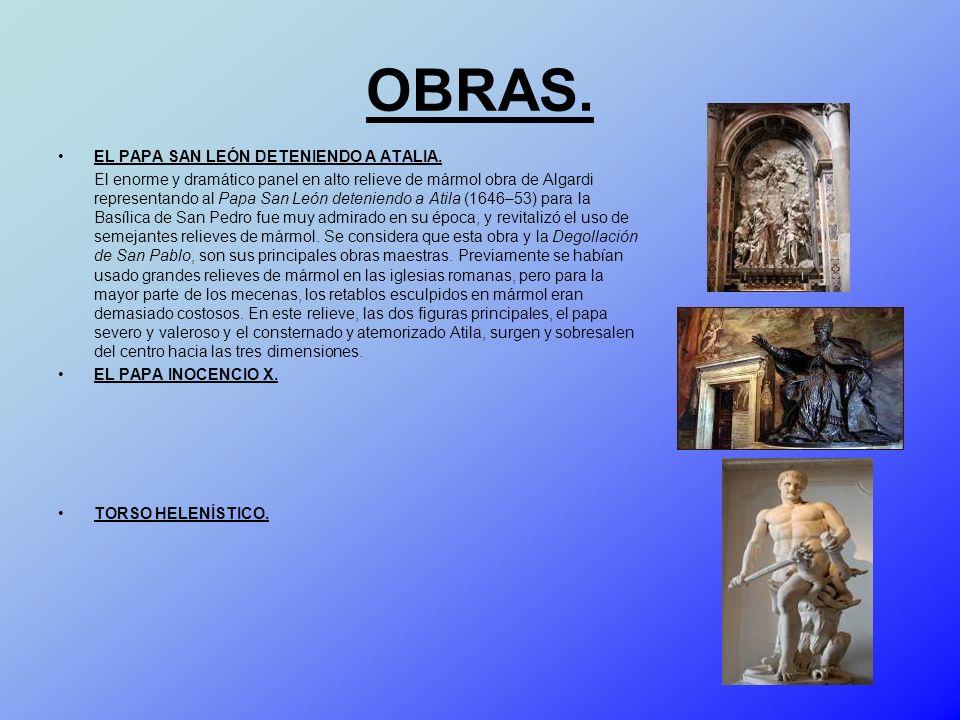 OBRAS. EL PAPA SAN LEÓN DETENIENDO A ATALIA. El enorme y dramático panel en alto relieve de mármol obra de Algardi representando al Papa San León dete