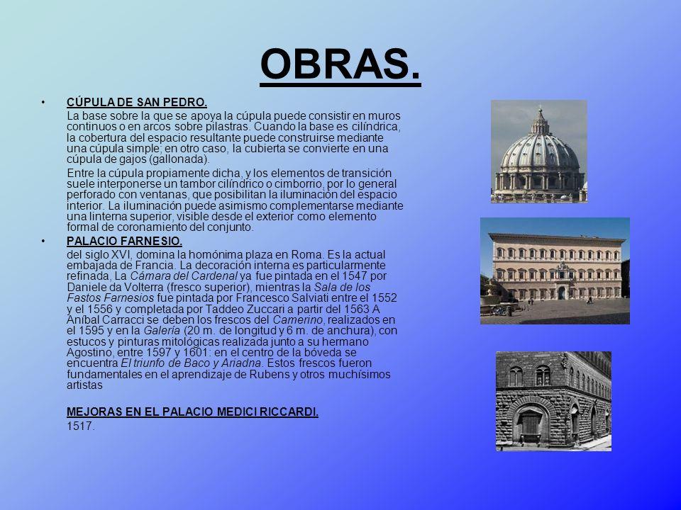 OBRAS. CÚPULA DE SAN PEDRO. La base sobre la que se apoya la cúpula puede consistir en muros continuos o en arcos sobre pilastras. Cuando la base es c