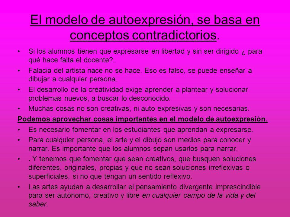 El modelo de autoexpresión, se basa en conceptos contradictorios. Si los alumnos tienen que expresarse en libertad y sin ser dirigido ¿ para qué hace