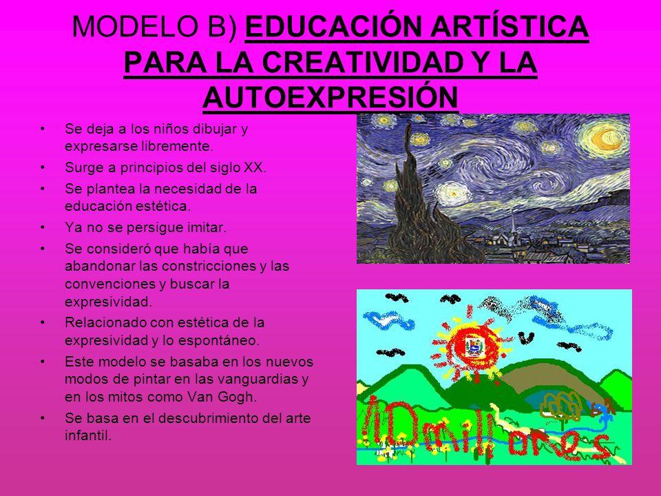 MODELO B) EDUCACIÓN ARTÍSTICA PARA LA CREATIVIDAD Y LA AUTOEXPRESIÓN Se deja a los niños dibujar y expresarse libremente. Surge a principios del siglo