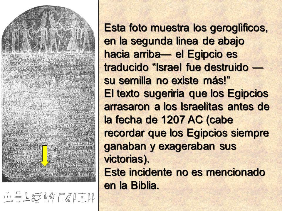 Esta foto muestra los geroglìficos, en la segunda linea de abajo hacia arriba el Egipcio es traducido Israel fue destruido su semilla no existe más! E