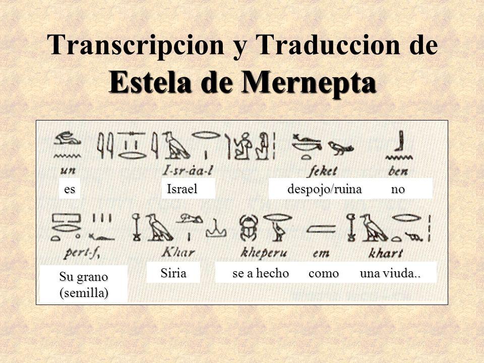 Estela de Mernepta Transcripcion y Traduccion de Estela de Mernepta esIsrael despojo/ruina despojo/ruinano Su grano (semilla) Siria se a hecho como un