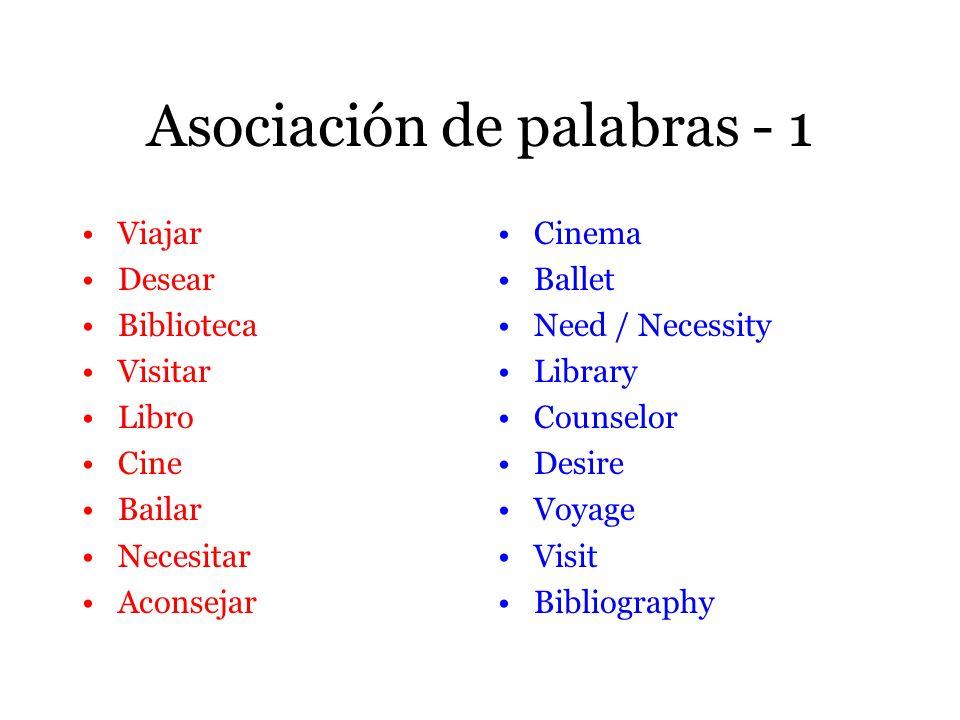 Asociación de palabras - 1 Viajar Desear Biblioteca Visitar Libro Cine Bailar Necesitar Aconsejar Cinema Ballet Need / Necessity Library Counselor Des