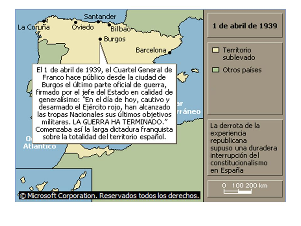 Consecuencias El desenlace dio como triunfador a Franco (Nacionalistas).