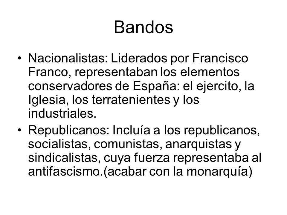 Bandos Nacionalistas: Liderados por Francisco Franco, representaban los elementos conservadores de España: el ejercito, la Iglesia, los terratenientes