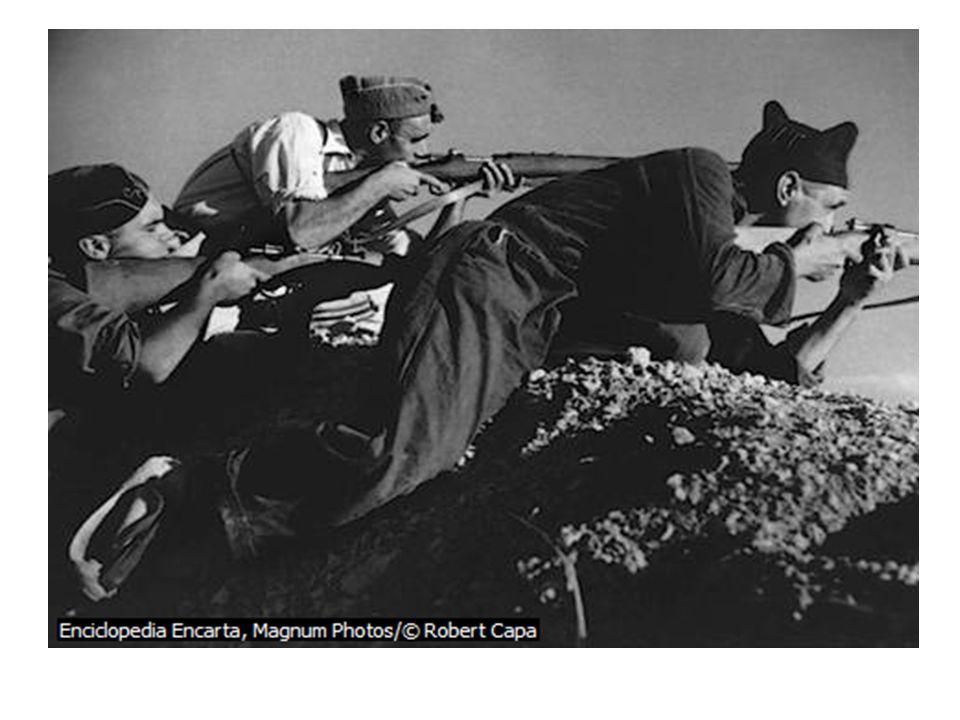 La Guerra El 17 de julio de 1936 con el Alzamiento del ejército en la ciudad norafricana de Melilla Ese mismo año se produce al Batalla de Madrid En 1937 los nacionalistas reciben el apoyo militar de Italia con Infantería, Motorizados y fuerza aérea (40.000 soldados) Las Fuerza alemanas que apoyaban a los nacionalistas atacaron Guernica.