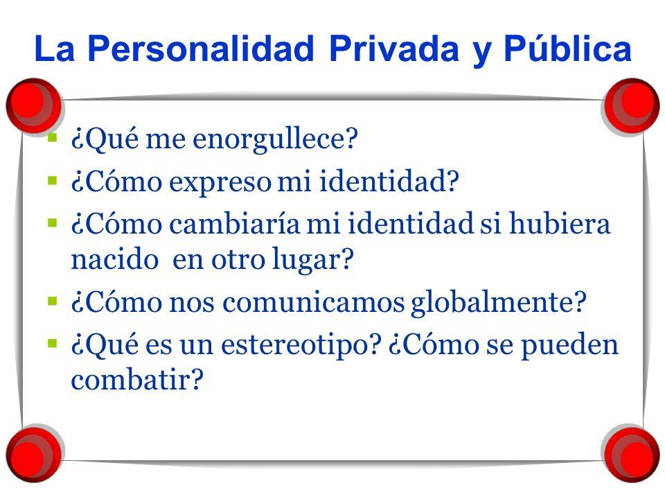 La Personalidad Privada y Pública ¿Qué me enorgullece? ¿Cómo expreso mi identidad? ¿Cómo cambiaría mi identidad si hubiera nacido en otro lugar? ¿Cómo