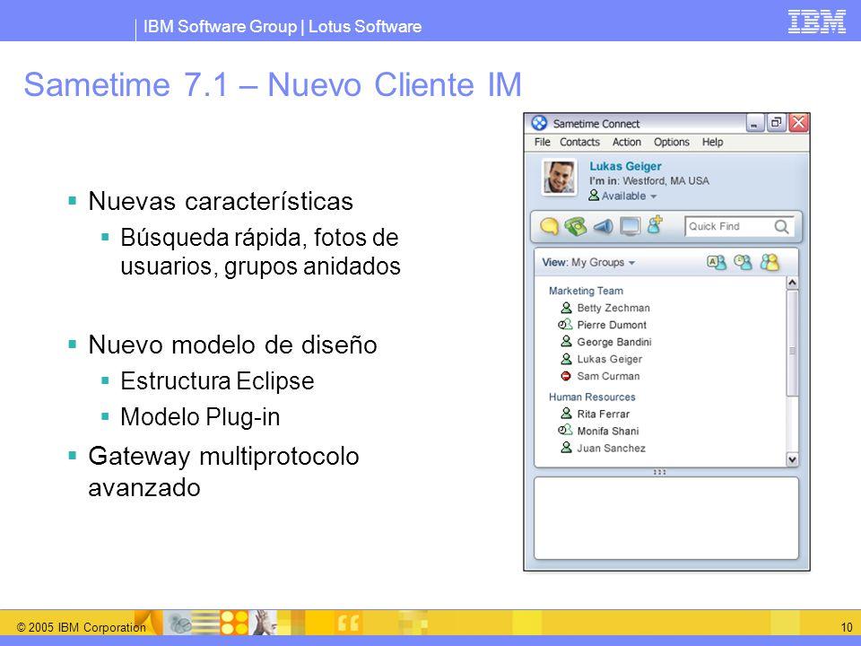 IBM Software Group | Lotus Software © 2005 IBM Corporation 10 Sametime 7.1 – Nuevo Cliente IM Nuevas características Búsqueda rápida, fotos de usuario