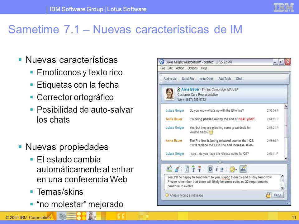 IBM Software Group | Lotus Software © 2005 IBM Corporation 11 Sametime 7.1 – Nuevas características de IM Nuevas características Emoticonos y texto ri