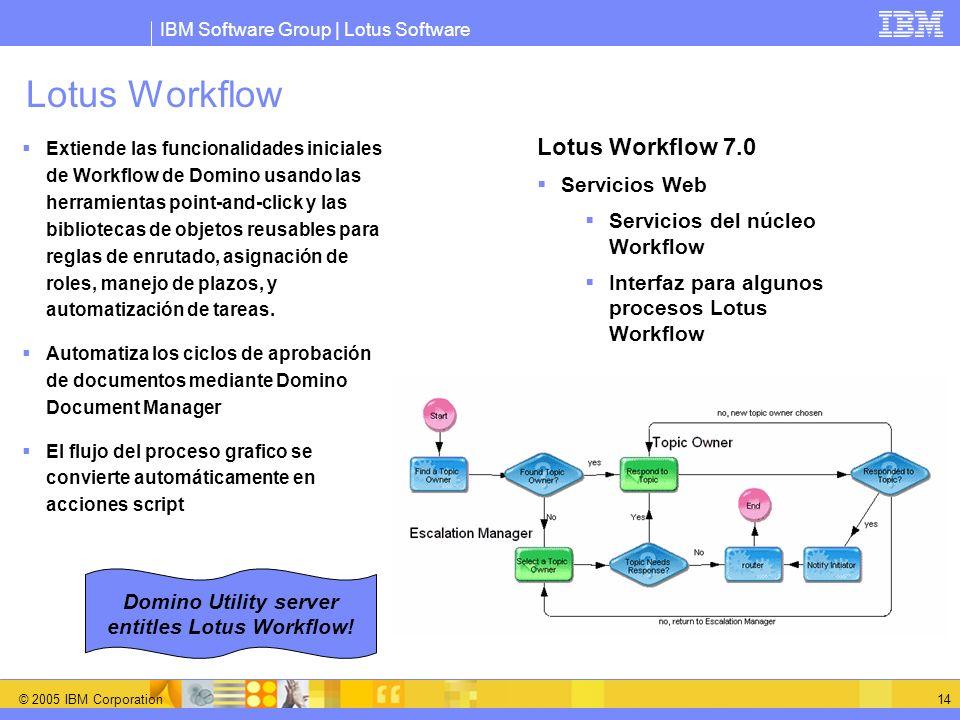 IBM Software Group | Lotus Software © 2005 IBM Corporation 14 Lotus Workflow Extiende las funcionalidades iniciales de Workflow de Domino usando las h
