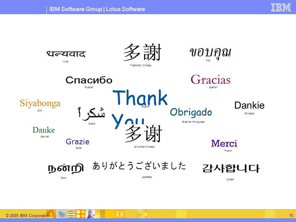 IBM Software Group | Lotus Software © 2005 IBM Corporation 15 Thank You Merci Grazie Gracias Obrigado Danke Japanese English French Russian German Ita