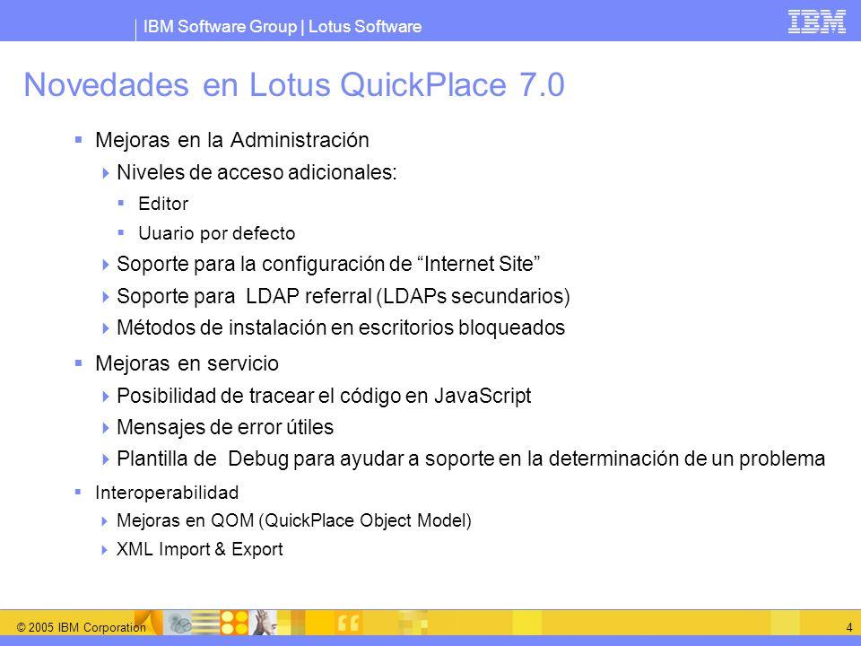 IBM Software Group | Lotus Software © 2005 IBM Corporation 4 Novedades en Lotus QuickPlace 7.0 Mejoras en la Administración Niveles de acceso adiciona