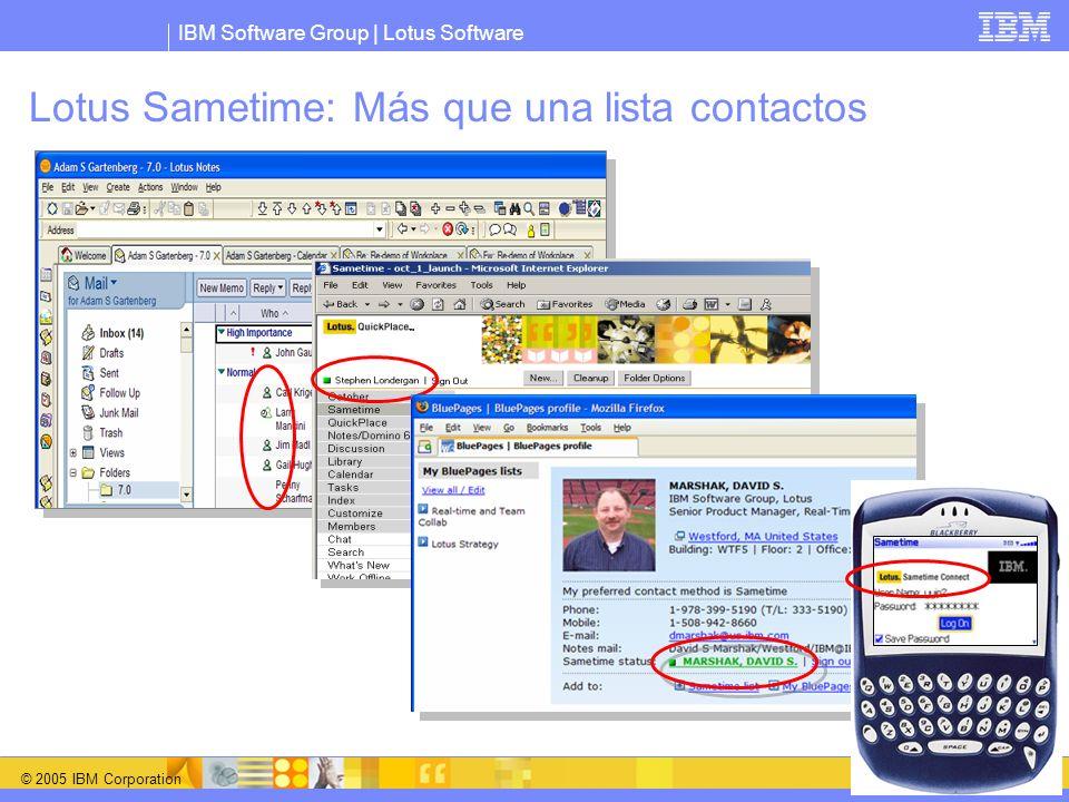 IBM Software Group   Lotus Software © 2005 IBM Corporation 8 Novedades en Sametime 7.0 Vuelta al nombre Sametime Fiabilidad,Disponibilidad y Servicio Utilidades nuevas y mejoradas para Test Conference Capacidades mejoradas detección y diagnóstico de problemas Mayor integración de las funcionalidades a través de la infraestructura Domino Ejecución de Sametime y QuickPlace en el mismo servidor (no en todas las plataformas) Incremento de clientes soportados Soporte de Macintosh para Java Connect Client Mensajería instantánea dentro de Domino Web Access Mejoras en la integración con Notes Integración adicional con servicios de telefonía Posibilidad de abrir el interfaz del proveedor para VOIP, PBX y teleconferencia para usar estos servicios en MI y Conferencias Web Click to Call from any Live Name