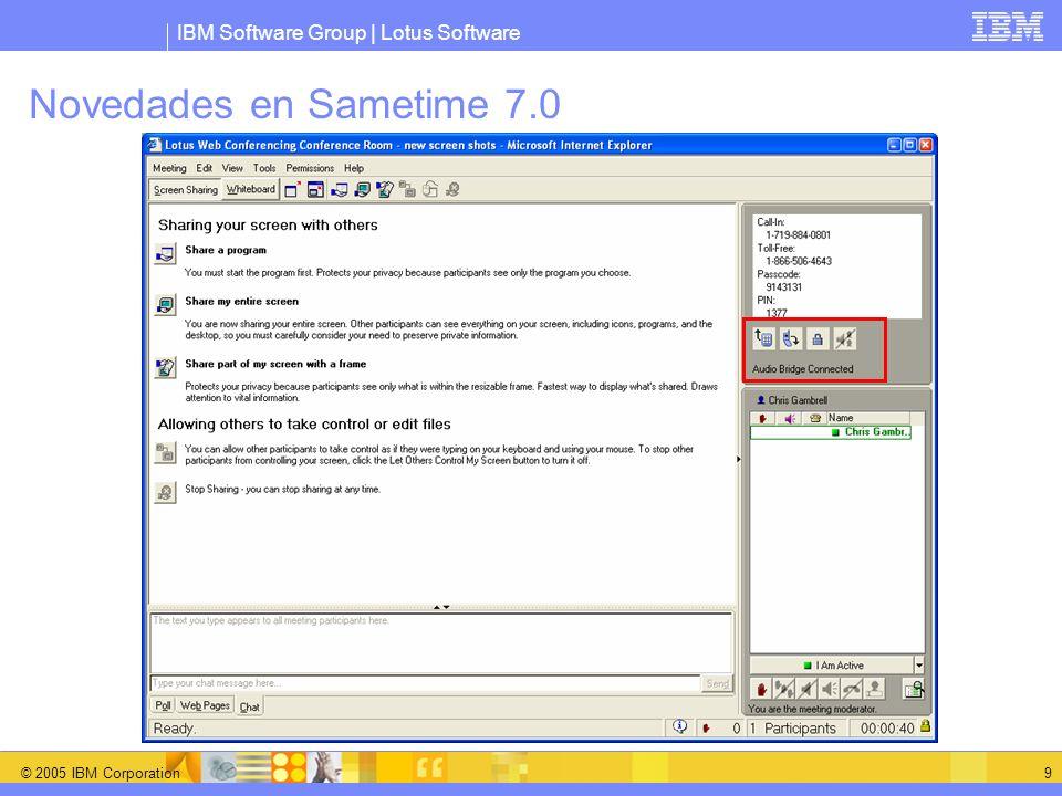 IBM Software Group   Lotus Software © 2005 IBM Corporation 10 Sametime 7.1 – Nuevo Cliente IM Nuevas características Búsqueda rápida, fotos de usuarios, grupos anidados Nuevo modelo de diseño Estructura Eclipse Modelo Plug-in Gateway multiprotocolo avanzado