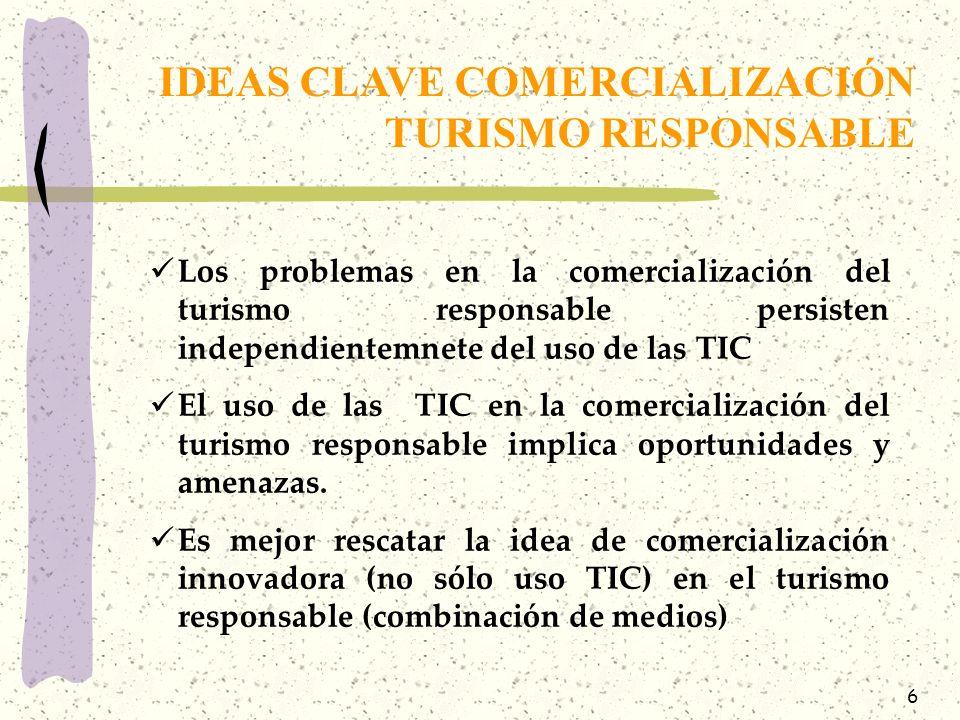 6 Los problemas en la comercialización del turismo responsable persisten independientemnete del uso de las TIC El uso de las TIC en la comercialización del turismo responsable implica oportunidades y amenazas.