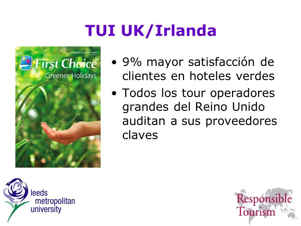 TUI UK/Irlanda 9% mayor satisfacción de clientes en hoteles verdes Todos los tour operadores grandes del Reino Unido auditan a sus proveedores claves