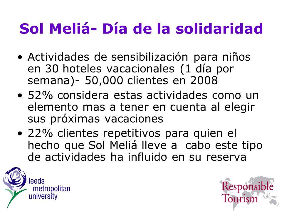 Sol Meliá- Día de la solidaridad Actividades de sensibilización para niños en 30 hoteles vacacionales (1 día por semana)- 50,000 clientes en 2008 52%
