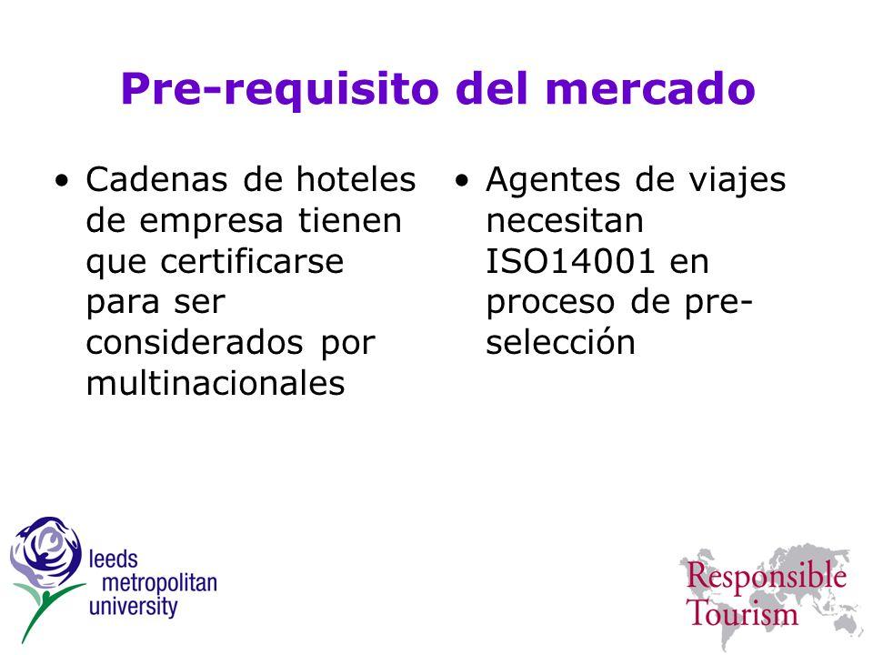 Pre-requisito del mercado Cadenas de hoteles de empresa tienen que certificarse para ser considerados por multinacionales Agentes de viajes necesitan