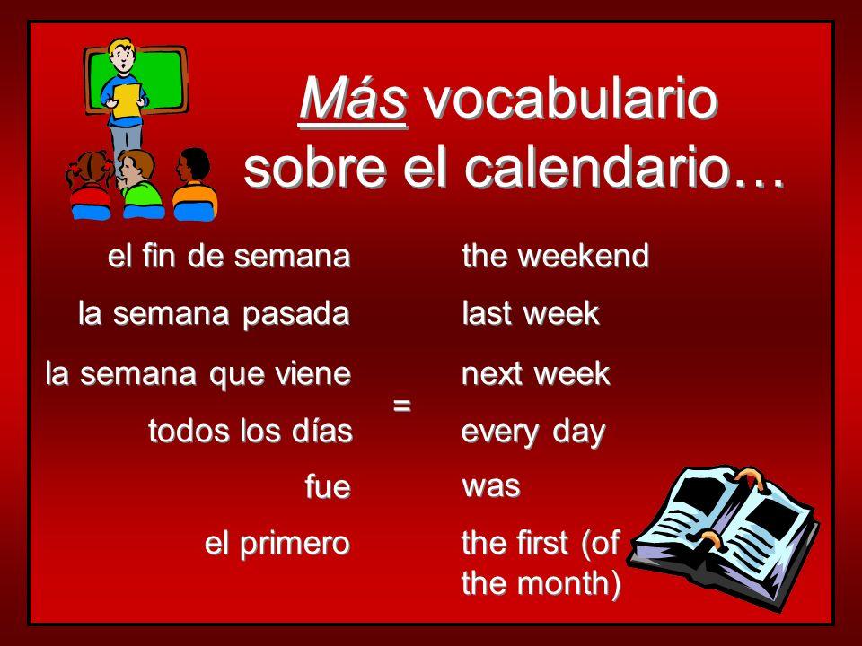 Vocabulario sobre el calendario… Vocabulario sobre el calendario… hoy mañana ayer pasado mañana anteayer today tomorrow yesterday day after tomorrow d