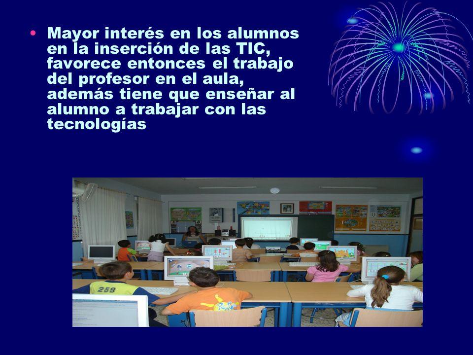 Mayor interés en los alumnos en la inserción de las TIC, favorece entonces el trabajo del profesor en el aula, además tiene que enseñar al alumno a trabajar con las tecnologías