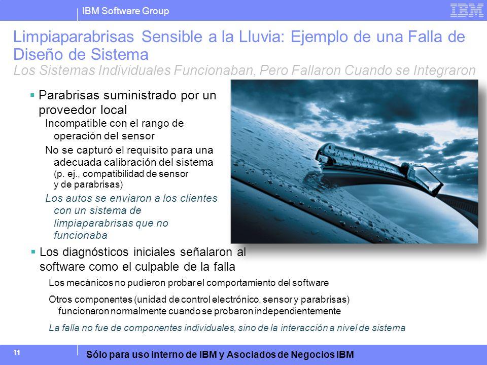 IBM Software Group Sólo para uso interno de IBM y Asociados de Negocios IBM 11 Limpiaparabrisas Sensible a la Lluvia: Ejemplo de una Falla de Diseño d