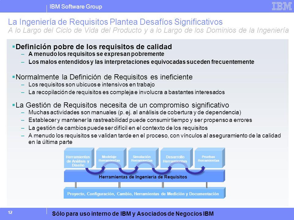 IBM Software Group Sólo para uso interno de IBM y Asociados de Negocios IBM 12 La Ingeniería de Requisitos Plantea Desafíos Significativos A lo Largo