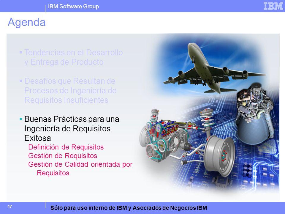 IBM Software Group Sólo para uso interno de IBM y Asociados de Negocios IBM 17 Agenda Tendencias en el Desarrollo y Entrega de Producto Desafíos que R