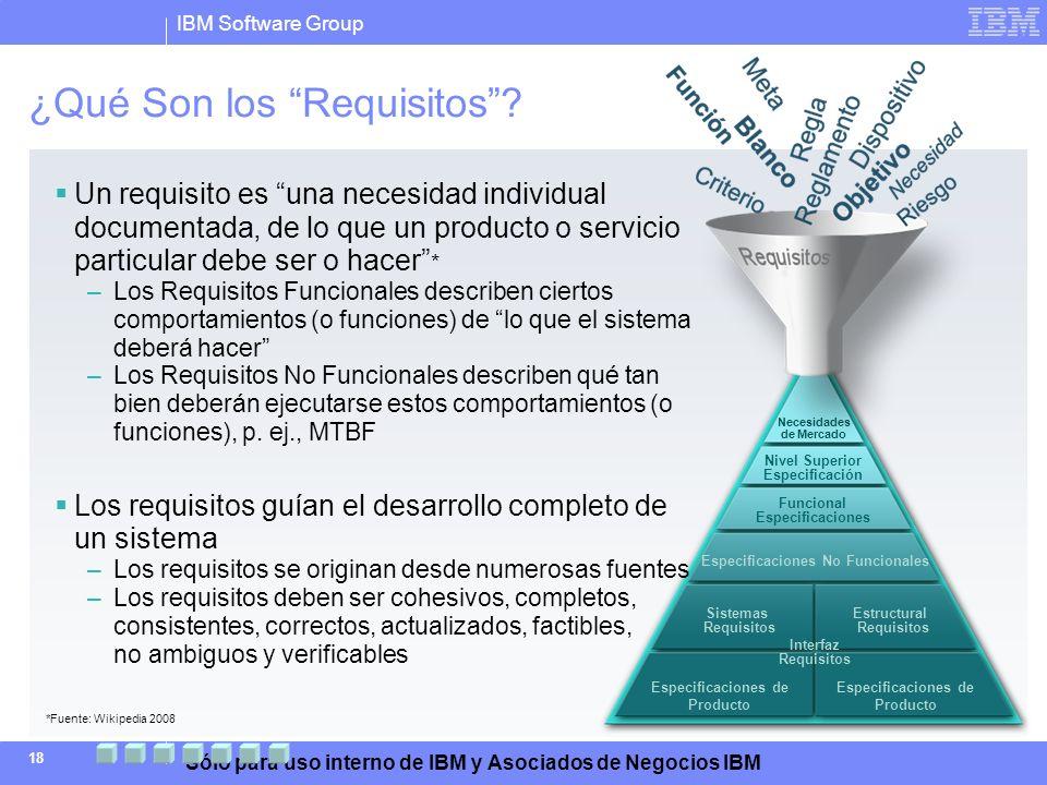 IBM Software Group Sólo para uso interno de IBM y Asociados de Negocios IBM 18 Necesidades de Mercado Nivel Superior Especificación Funcional Especifi