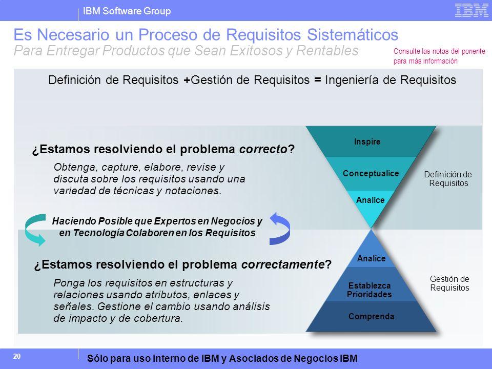 IBM Software Group Sólo para uso interno de IBM y Asociados de Negocios IBM 20 Es Necesario un Proceso de Requisitos Sistemáticos Para Entregar Produc
