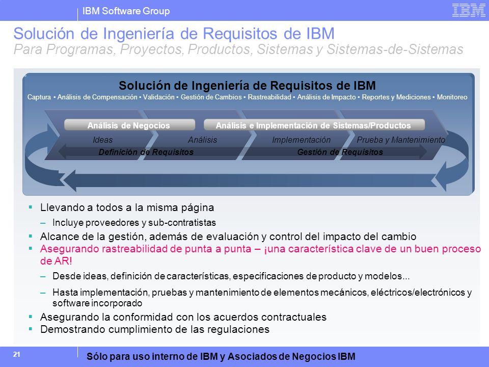 IBM Software Group Sólo para uso interno de IBM y Asociados de Negocios IBM 21 Solución de Ingeniería de Requisitos de IBM Para Programas, Proyectos,