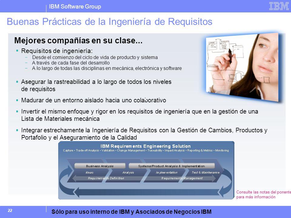 IBM Software Group Sólo para uso interno de IBM y Asociados de Negocios IBM 22 Buenas Prácticas de la Ingeniería de Requisitos Requisitos de ingenierí
