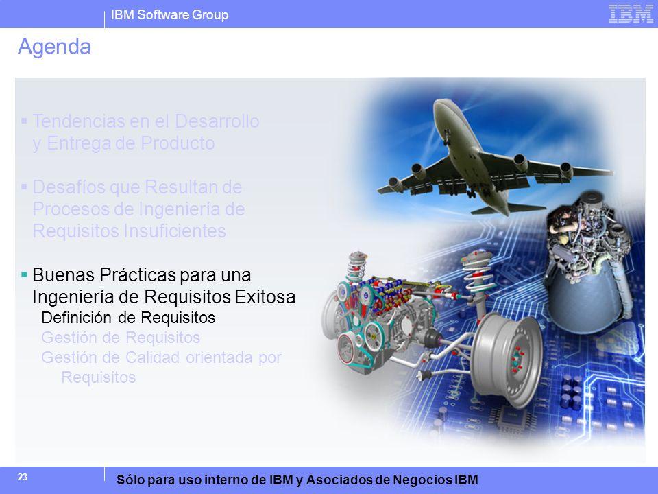 IBM Software Group Sólo para uso interno de IBM y Asociados de Negocios IBM 23 Agenda Tendencias en el Desarrollo y Entrega de Producto Desafíos que R