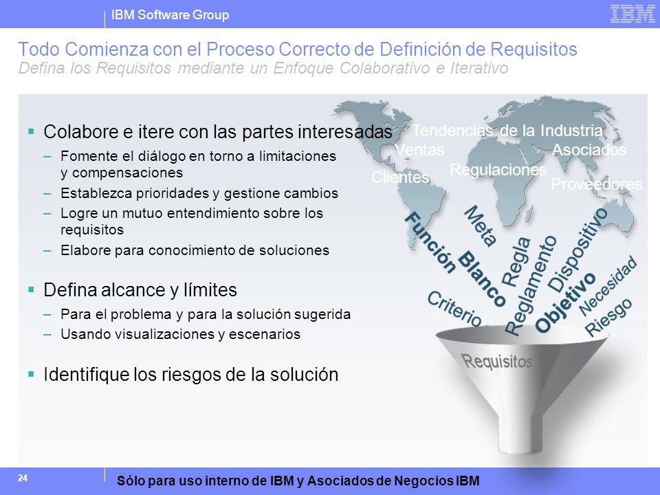 IBM Software Group Sólo para uso interno de IBM y Asociados de Negocios IBM 24 Todo Comienza con el Proceso Correcto de Definición de Requisitos Defin