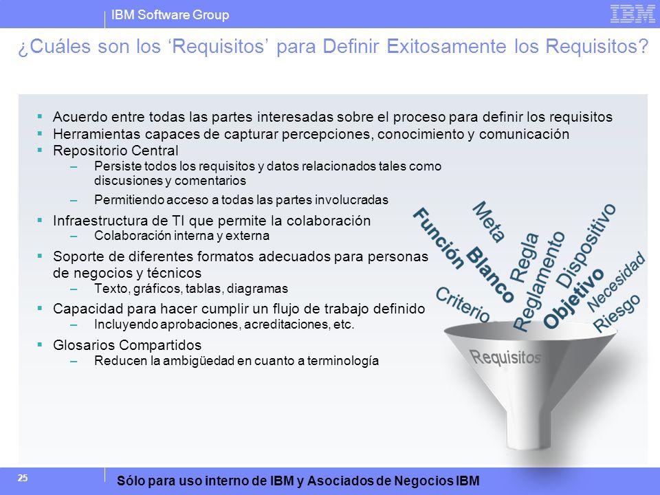 IBM Software Group Sólo para uso interno de IBM y Asociados de Negocios IBM 25 ¿Cuáles son los Requisitos para Definir Exitosamente los Requisitos? Ac