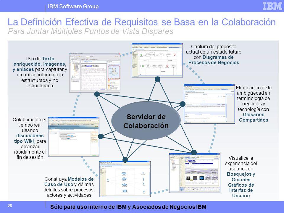 IBM Software Group Sólo para uso interno de IBM y Asociados de Negocios IBM 26 La Definición Efectiva de Requisitos se Basa en la Colaboración Para Ju
