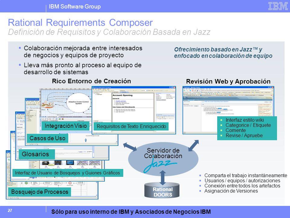 IBM Software Group Sólo para uso interno de IBM y Asociados de Negocios IBM 27 Servidor de Colaboración Comparta el trabajo instantáneamente Usuarios