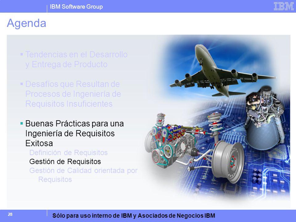 IBM Software Group Sólo para uso interno de IBM y Asociados de Negocios IBM 28 Agenda Tendencias en el Desarrollo y Entrega de Producto Desafíos que R
